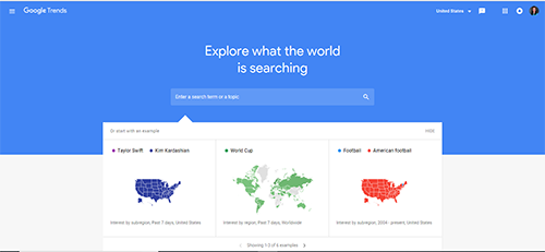Online research tool that analyzes popularity of search queries in Google