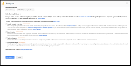 Tracking ID for Google Analytics