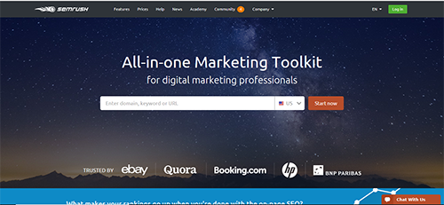 Marketing tool that specializes in competitor data offering features needed for SEO and SEM strategies
