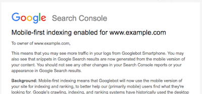 "Google ""Mobile-first indexing enabled"" message"