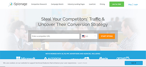 Competitive analysis toll that provides SEO data to user by identifying profitable keywords, best performing ad copy and landing pages.